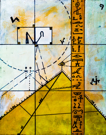 hieroglyphs: Real Contemporary Painting on Canvas about Hieroglyphs and Pyramids.