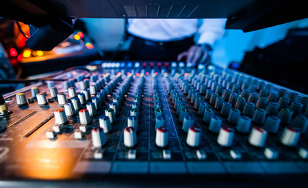 Close-up of a Sound Tech Board in Action during a Show