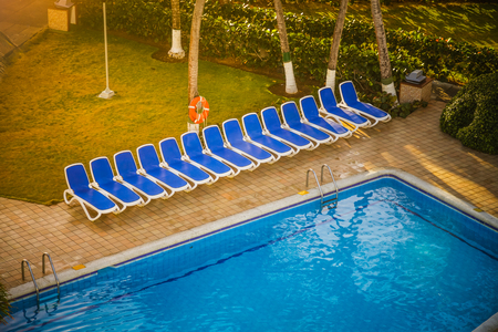 inclusive: Typical Empty Pool on a All Inclusive Resort Stock Photo