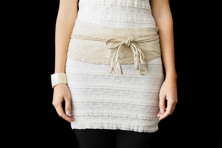 waistband: Beige Dress cropped at the Waist height wit a waistband forming a Bow