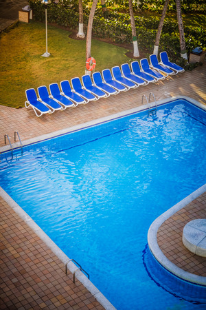 typical: Typical Empty Pool on a All Inclusive Resort Stock Photo