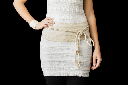 wristlet: Beige Dress cropped at the Waist height wit a waistband forming a Bow