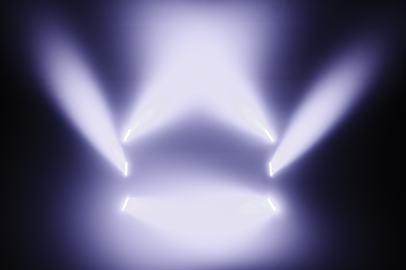 lighting effects: Spot lights on a Empty Stage before a Big Concert Stock Photo