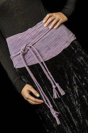 waistband: Black and Purple Dress cropped at the Waist height wit a waistband forming a Bow