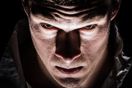 Obscure Freaky Psycho Man Close-up van de Ogen