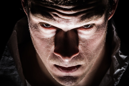 psychopathe: Obscure Freaky Psycho Man Gros plan des Yeux Banque d'images