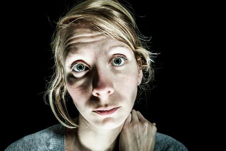 insomniac: Insomniac Sad and Hopelessness Woman needing Help - Isolated on Black