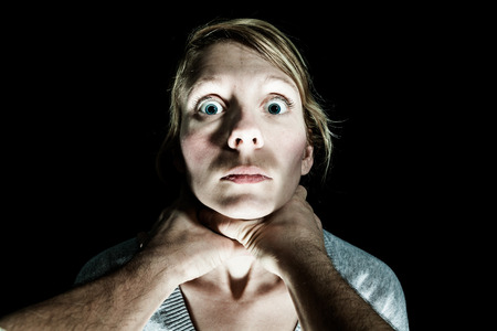 strangle: Woman Victim Being Strangle by her Boyfriend - Domestic Violence Concept