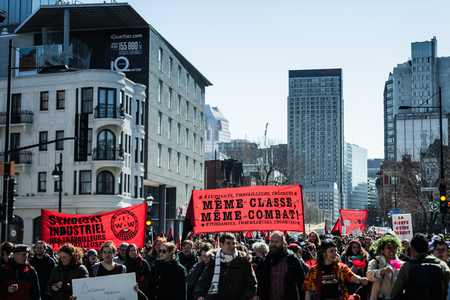 furor: MONTREAL, CANADA, APRIL 02 2015. Riot in the Montreal Streets to counter the Economic Austerity Measures. Protesters Takes the control of the Streets