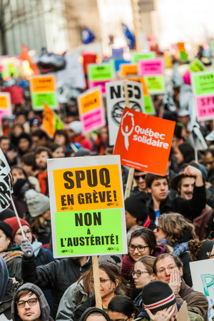 austerity: MONTREAL, CANADA, APRIL 02 2015. Riot in the Montreal Streets to counter the Economic Austerity Measures.