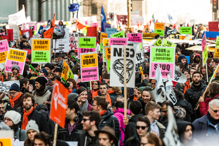 furor: MONTREAL, CANADA, APRIL 02 2015. Riot in the Montreal Streets to counter the Economic Austerity Measures.