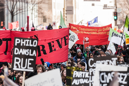commotion: MONTREAL, CANADA, APRIL 02 2015. Riot in the Montreal Streets to counter the Economic Austerity Measures.