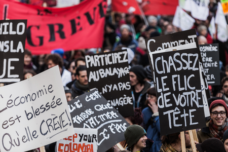 MONTREAL, CANADA, APRIL 02 2015. Riot in the Montreal Streets to counter the Economic Austerity Measures.