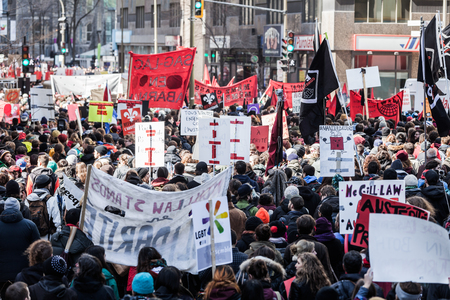 tumult: MONTREAL, CANADA, APRIL 02 2015. Riot in the Montreal Streets to counter the Economic Austerity Measures.