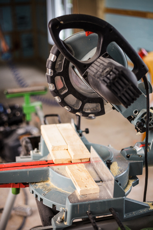 miter: Miter Saw on a house construction site Stock Photo