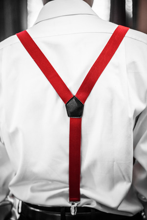 Back Close-up View of Red Man Suspenders Detail