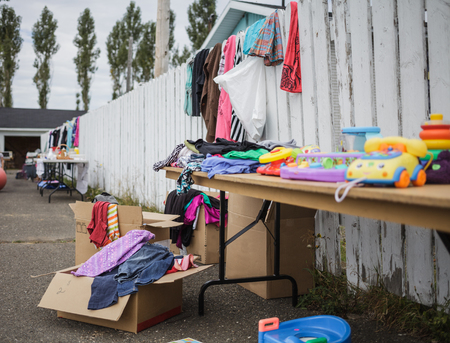 thrift box: Garage Sale with lot of Items    Stock Photo