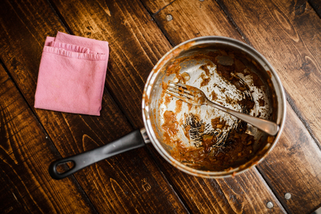 Dirty Pan After a Dinner. That was the meal of a Student or a teenager Foto de archivo