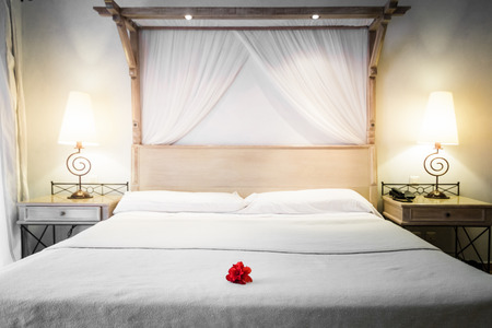 Closeup of a bed with Decoration Ready for Tourists Stock Photo