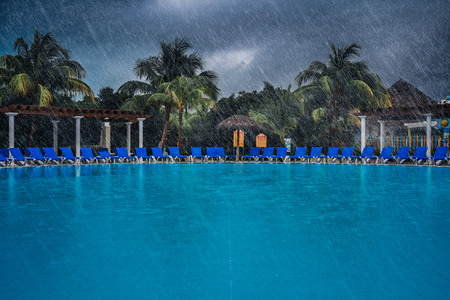 Bad Weather During Vacation at the Pool of a Beautiful Resort