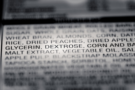 box size: Shallow depth of Field image of Nutrition Facts Dextrose Ingredient Information we can find on a grocery Store Product.