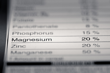 box size: Shallow depth of Field image of Nutrition Facts Magnesium Information we can find on a grocery Store Product.
