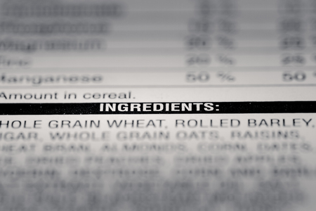 box size: Shallow depth of Field image of Nutrition Facts Ingredients Information we can find on a grocery Store Product.