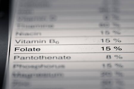 grams: Shallow depth of Field image of Nutrition Facts Folate Information we can find on a grocery Store Product.