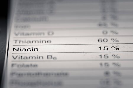 grams: Shallow depth of Field image of Nutrition Facts Niacin Information we can find on a grocery Store Product.