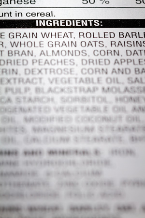 grains: Shallow depth of Field image of Nutrition Facts Ingredients Information we can find on a grocery Store Product.