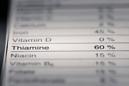 grams: Shallow depth of Field image of Nutrition Facts Thiamine Information we can find on a grocery Store Product.