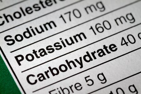 box size: Shallow depth of Field image of Nutrition Facts Potassium Information we can find on a grocery Store Product.