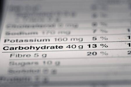 nutritional: Shallow depth of Field image of Nutrition Facts Carbohydrate Information we can find on a grocery Store Product.