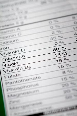 percentages: Shallow depth of Field image of Nutrition Facts Vitamins Percentages Information we can find on a grocery Store Product. Stock Photo