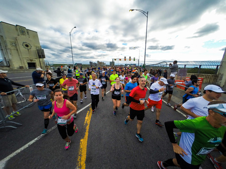 personal point of view: September 20th, 2015 - Montreal, Canada. Marathon de Montreal from the personal point of view of a jogger.