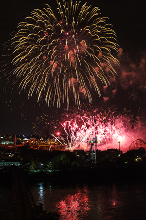 July 26th, 2014 - Montreal, Canada. Loto-Quebec Fireworks of La Ronde view from the Jacques-Cartier Bridge