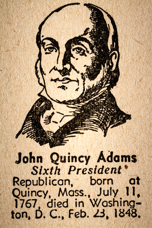 adams: October 6th, 2015 - Montreal, Canada. Old 1945 Websters Dictionary Macro Close-up of John Quincy Adams the 6th President of the United State of America Drawing and little historical text. Editorial