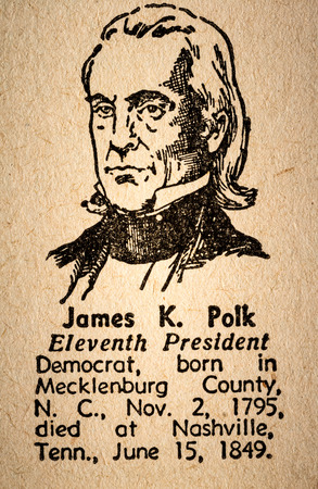 11th: October 6th, 2015 - Montreal, Canada. Old 1945 Websters Dictionary Macro Close-up of James K. Polk the 11th President of the United State of America Drawing and little historical text.