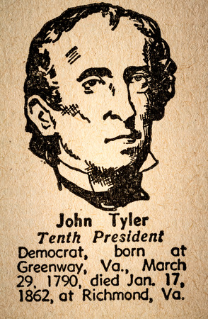 October 6th, 2015 - Montreal, Canada. Old 1945 Websters Dictionary Macro Close-up of John Tyler the 10th President of the United State of America Drawing and little historical text.