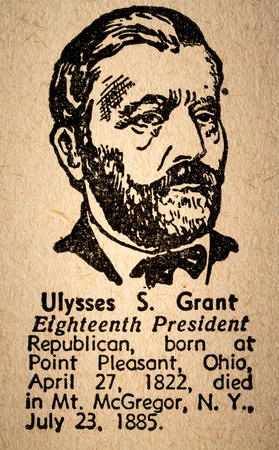 October 6th, 2015 - Montreal, Canada. Old 1945 Webster's Dictionary Macro Close-up of Ulysses S. Grant the 18th President of the United State of America Drawing and little historical text.