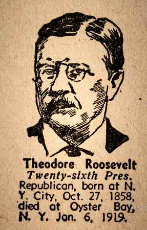 theodore roosevelt: October 6th, 2015 - Montreal, Canada. Old 1945 Websters Dictionary Macro Close-up of Theodore Roosevelt the 26th President of the United State of America Drawing and little historical text.