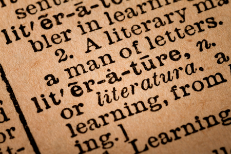 noun: October 1st, 2015 - Montreal, Canada. Close-up of an Old 1945 Webster Vintage Dictionary showing the Word LITERATURE