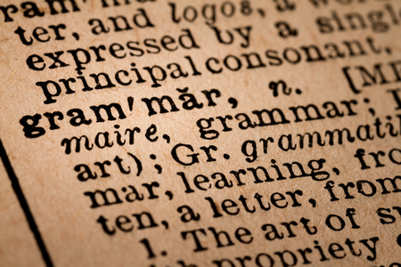 noun: October 1st, 2015 - Montreal, Canada. Close-up of an Old 1945 Webster Vintage Dictionary showing the Word GRAMMAR