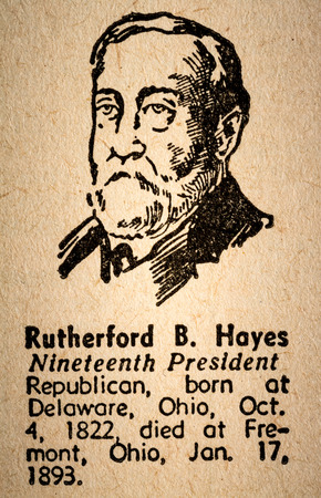 October 6th, 2015 - Montreal, Canada. Old 1945 Websters Dictionary Macro Close-up of Rutherford B. Hayes the 19th President of the United State of America Drawing and little historical text. Redakční