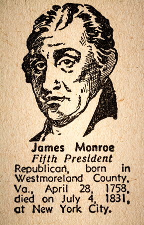 monroe: October 6th, 2015 - Montreal, Canada. Old 1945 Websters Dictionary Macro Close-up of James Monroe the 5th President of the United State of America Drawing and little historical text. Editorial