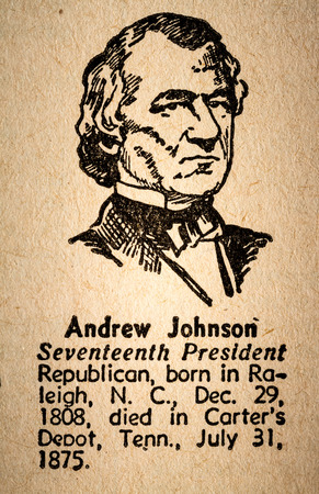 17th: October 6th, 2015 - Montreal, Canada. Old 1945 Websters Dictionary Macro Close-up of Andrew Johnson the 17th President of the United State of America Drawing and little historical text.