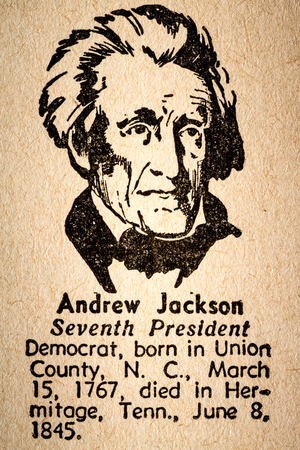 October 6th, 2015 - Montreal, Canada. Old 1945 Webster's Dictionary Macro Close-up of Andrew Jackson the 7th President of the United State of America Drawing and little historical text.