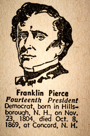 pierce: October 6th, 2015 - Montreal, Canada. Old 1945 Websters Dictionary Macro Close-up of Franklin Pierce the 14th President of the United State of America Drawing and little historical text. Editorial