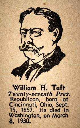 17th: October 6th, 2015 - Montreal, Canada. Old 1945 Websters Dictionary Macro Close-up of William Howard Taft the 17th President of the United State of America Drawing and little historical text. Editorial