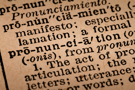 noun: October 1st, 2015 - Montreal, Canada. Close-up of an Old 1945 Webster Vintage Dictionary showing the Word PRONUNCIATION Editorial